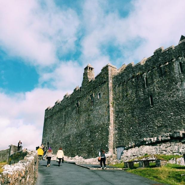 Climbing up to the Rock of Cashel.