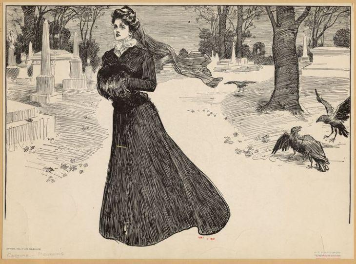 Widow Walking Through a Cemetery